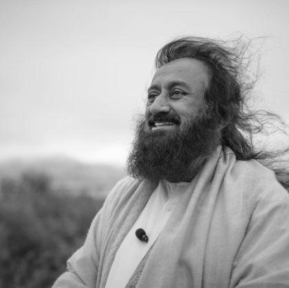 Gurudev Sri Sri Ravi Shankar gazing into the sky
